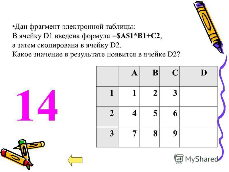 АВСD 1123 2456 3789 Дан фрагмент электронной таблицы: В ячейку D1 введена формула =$А$1*В1+С2, а затем скопирована в ячейку D2. Какое значение в результате появится в ячейке D2? 1414