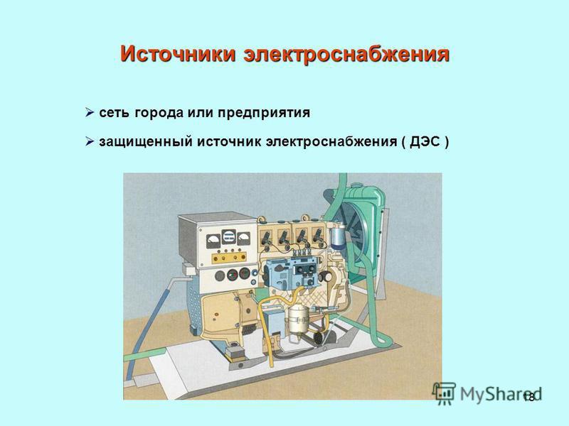 18 сеть города или предприятия защищенный источник электроснабжения ( ДЭС ) Источники электроснабжения