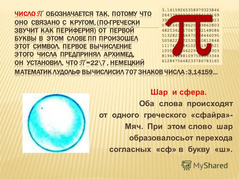 Шар и сфера. Оба слова происходят от одного греческого «сфайра»- Мяч. При этом слово шар образовалось от перехода согласных «сф» в букву «ш».