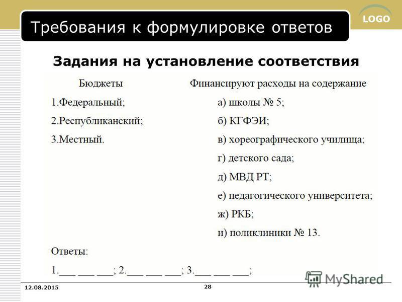LOGO Задания на установление соответствия Требования к формулировке ответов 12.08.2015 28