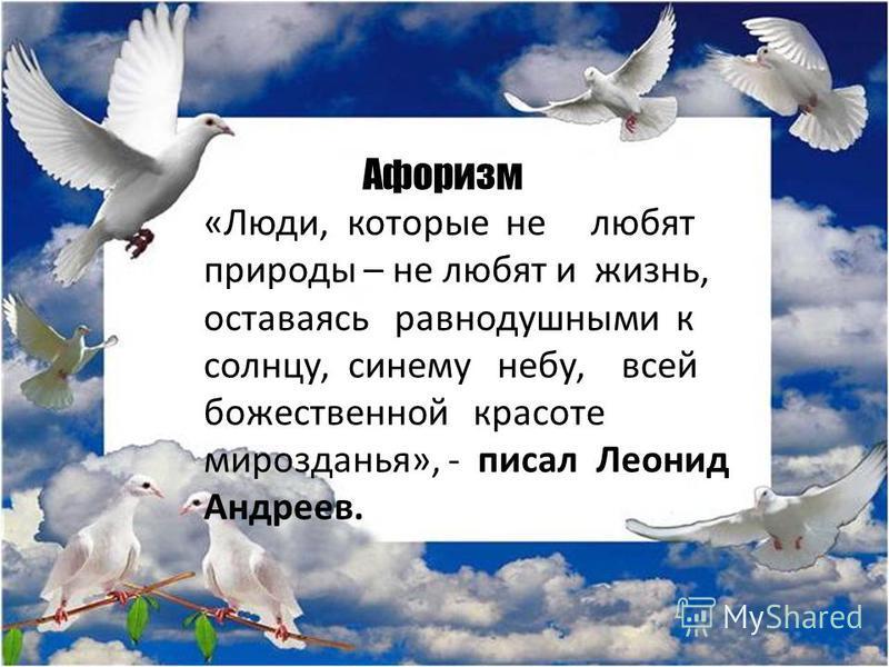 Афоризм «Люди, которые не любят природы – не любят и жизнь, оставаясь равнодушными к солнцу, синему небу, всей божественной красоте мирозданья», - писал Леонид Андреев.