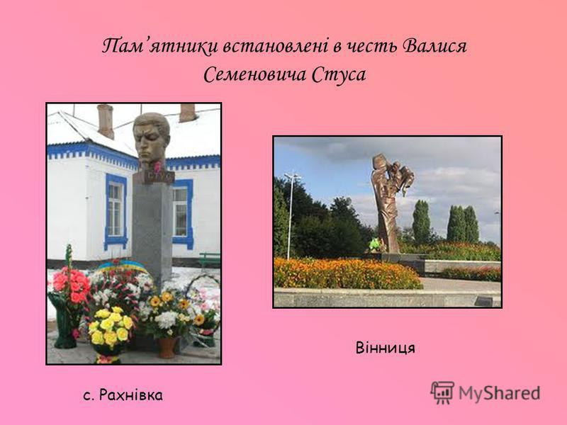Памятники встановлені в честь Валися Семеновича Стуса с. Рахнівка Вінниця