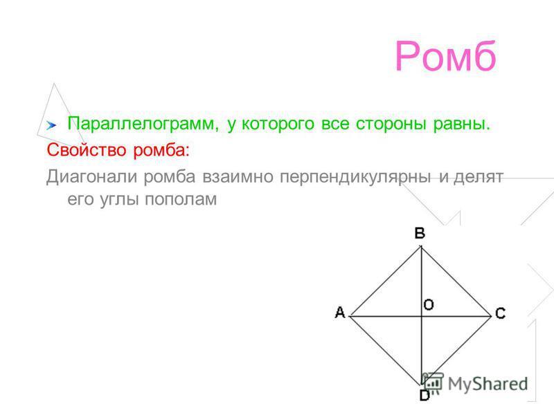 Ромб Параллелограмм, у которого все стороны равны. Свойство ромба: Диагонали ромба взаимно перпендикулярны и делят его углы пополам