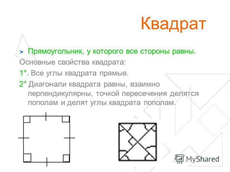 Квадрат Прямоугольник, у которого все стороны равны. Основные свойства квадрата: 1°. Все углы квадрата прямые. 2° Диагонали квадрата равны, взаимно перпендикулярны, точкой пересечения делятся пополам и делят углы квадрата пополам.