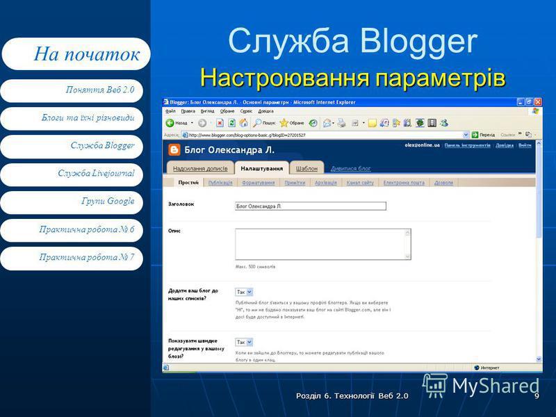 Блоги та їхні різновиди Служба Blogger Служба Livejournal Групи Google Поняття Веб 2.0 На початок Практична робота 7 Практична робота 6 Розділ 6. Технології Веб 2.0 9 Настроювання параметрів Служба Blogger Настроювання параметрів