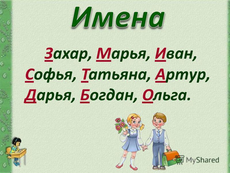 Захар, Марья, Иван, Софья, Татьяна, Артур, Дарья, Богдан, Ольга.