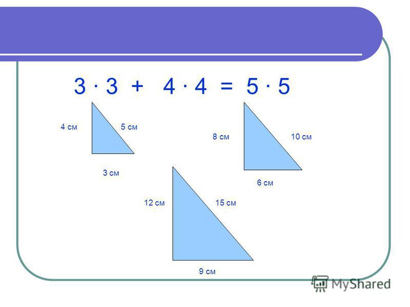3 · 3 + 4 · 4 = 5 · 5 4 см 5 см 3 см 8 см 10 см 6 см 12 см 15 см 9 см