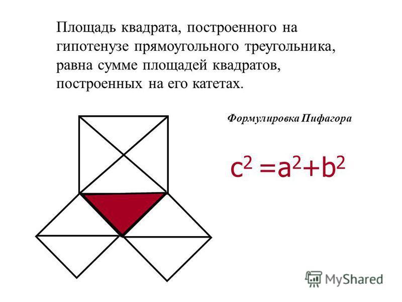 Площадь квадрата, построенного на гипотенузе прямоугольного треугольника, равна сумме площадей квадратов, построенных на его катетах. Формулировка Пифагора с 2 =а 2 +b 2