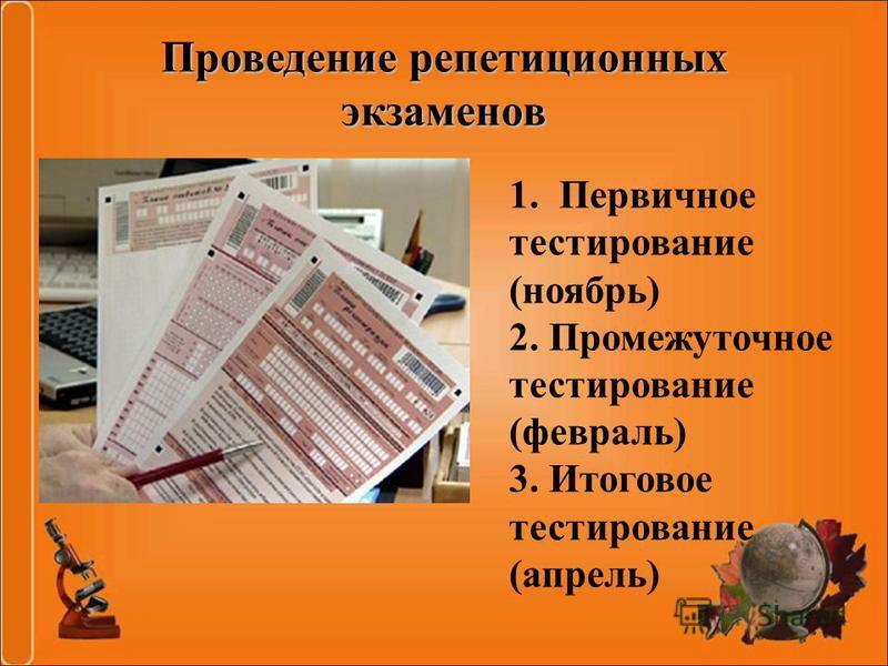 Проведение репетиционных экзаменов 1. Первичное тестирование (ноябрь) 2. Промежуточное тестирование (февраль) 3. Итоговое тестирование (апрель)