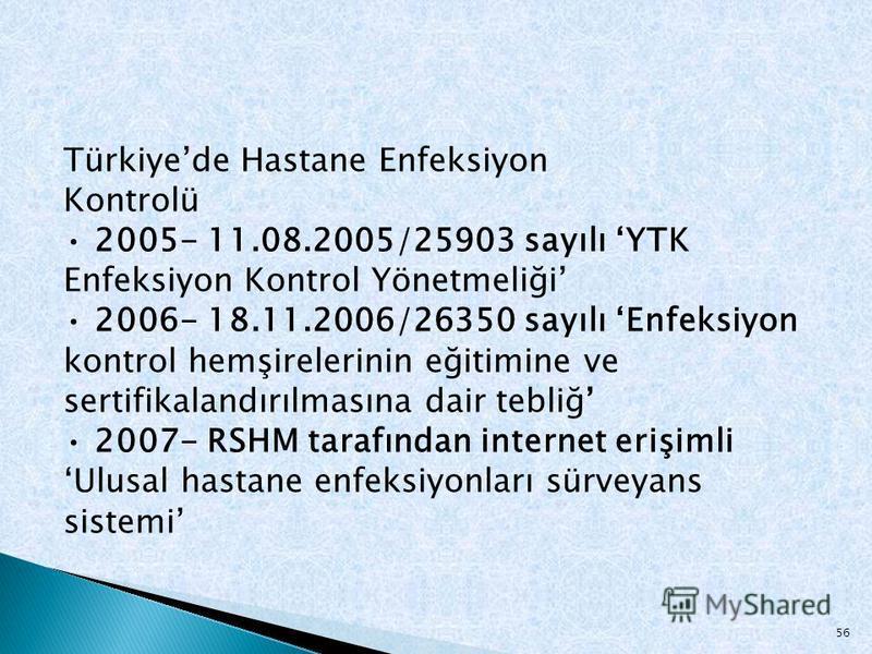 Türkiyede Hastane Enfeksiyon Kontrolü 2005- 11.08.2005/25903 sayılı YTK Enfeksiyon Kontrol Yönetmeliği 2006- 18.11.2006/26350 sayılı Enfeksiyon kontrol hemşirelerinin eğitimine ve sertifikalandırılmasına dair tebliğ 2007- RSHM tarafından internet eri