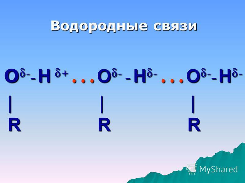 О-- Н + …О- - Н- …О-- Н- | | | R R R Водородные связи