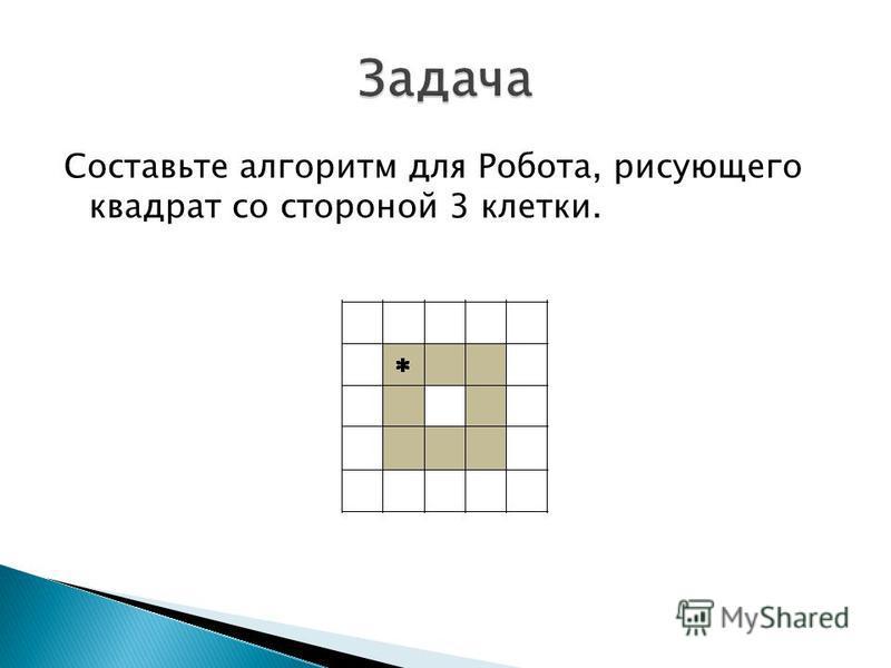 Составьте алгоритм для Робота, рисующего квадрат со стороной 3 клетки.