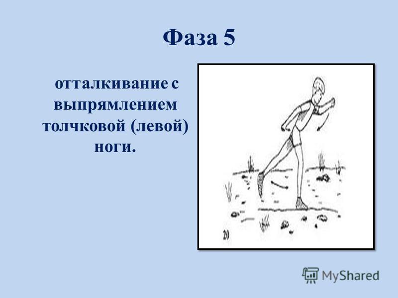 Фаза 5 отталкивание с выпрямлением толчковой (левой) ноги.
