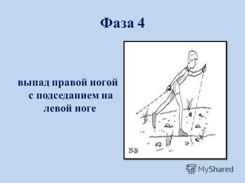 Фаза 4 выпад правой ногой с подседанием на левой ноге