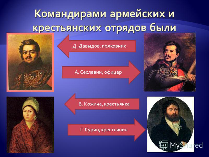 Д. Давыдов, полковник А. Сеславин, офицер В. Кожина, крестьянка Г. Курин, крестьянин