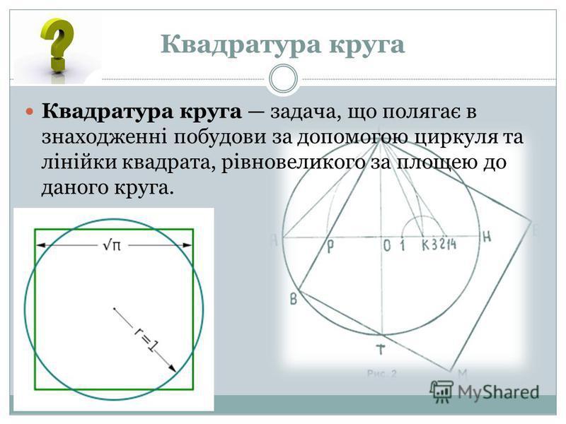 Квадратура круга Квадратура круга задача, що полягає в знаходженні побудови за допомогою циркуля та лінійки квадрата, рівновеликого за площею до даного круга.