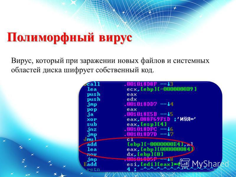 Полиморфный вирус Вирус, который при заражении новых файлов и системных областей диска шифрует собственный код.