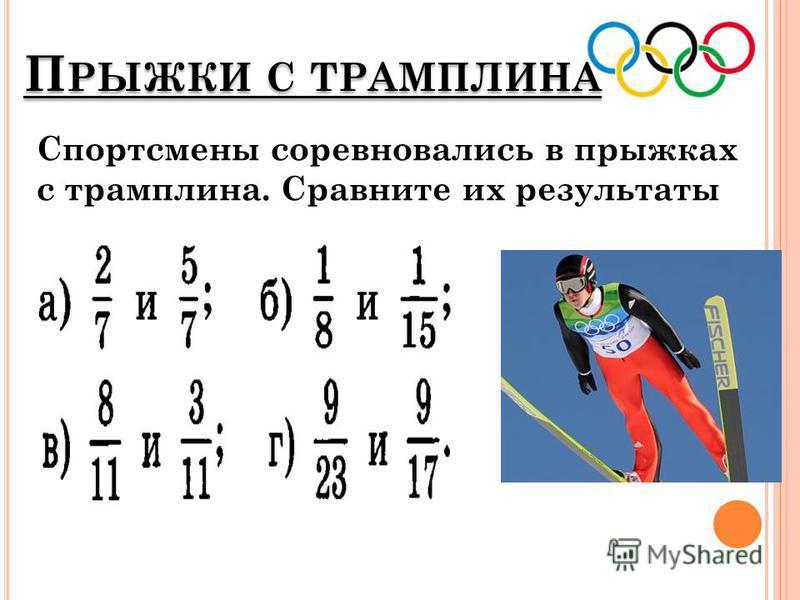 П РЫЖКИ С ТРАМПЛИНА Спортсмены соревновались в прыжках с трамплина. Сравните их результаты