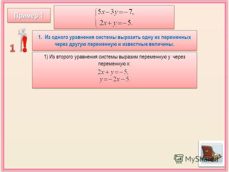 1. Из одного уравнения системы выразить одну из переменных через другую переменную и известные величины. 1) Из второго уравнения системы выразим переменную у через переменную х: Пример 1