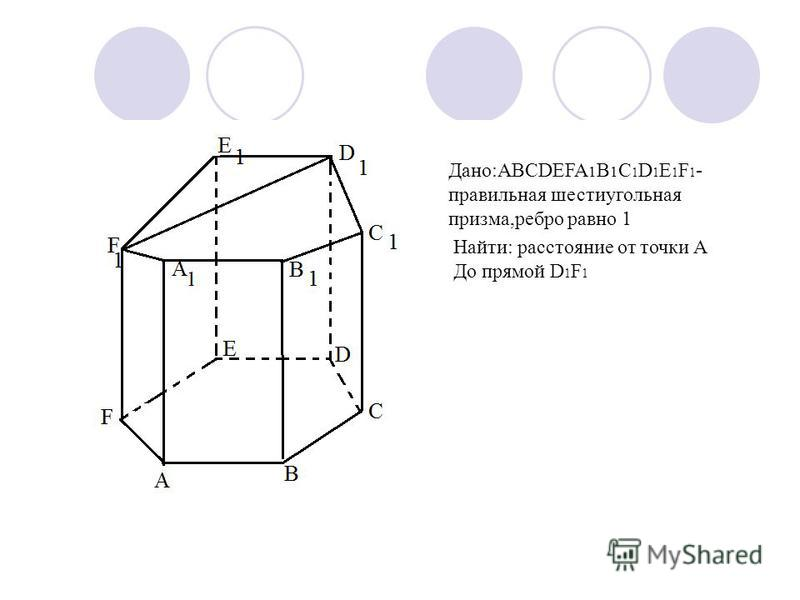 Дано:ABCDEFA 1 B 1 C 1 D 1 E 1 F 1 - правильная шестиугольная призма,ребро равно 1 Найти: расстояние от точки А До прямой D 1 F 1