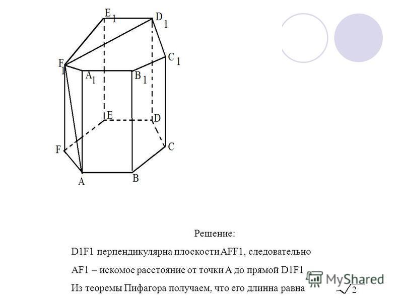 Решение: D1F1 перпендикулярна плоскости AFF1, следовательно AF1 – искомое расстояние от точки A до прямой D1F1 Из теоремы Пифагора получаем, что его длинна равна