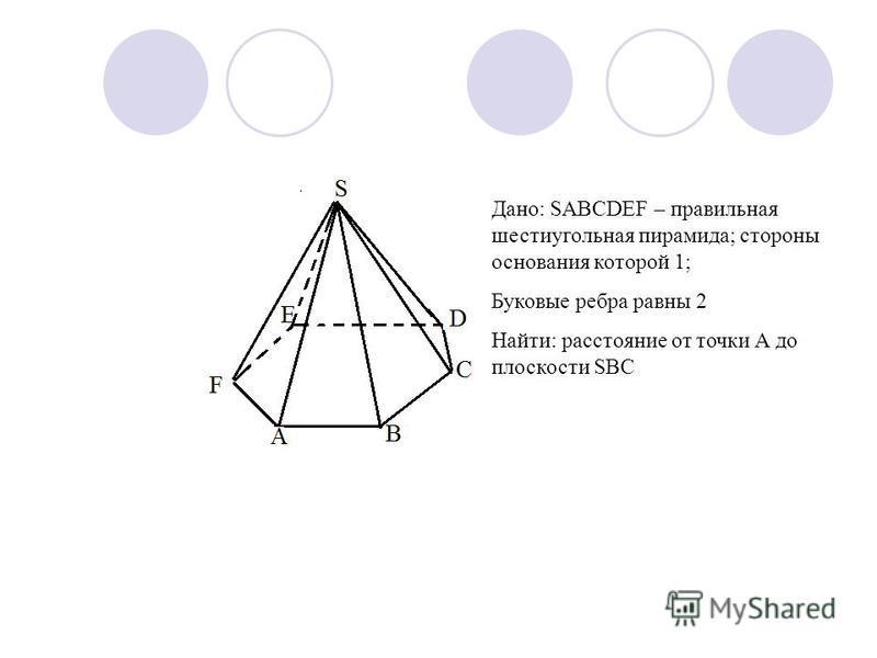 Дано: SABCDEF – правильная шестиугольная пирамида; стороны основания которой 1; Буковые ребра равны 2 Найти: расстояние от точки А до плоскости SBC