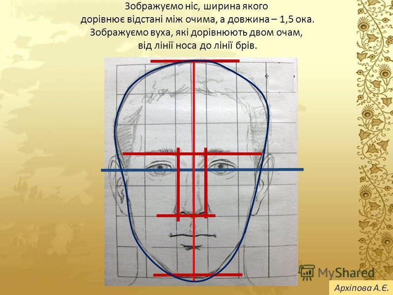 Зображуємо ніс, ширина якого дорівнює відстані між очима, а довжина – 1,5 ока. Зображуємо вуха, які дорівнюють двом очам, від лінії носа до лінії брів.