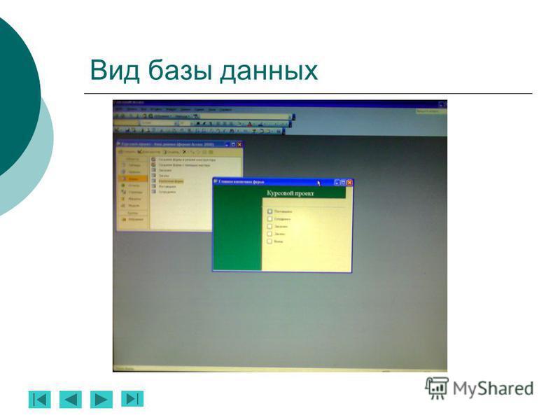 Вид базы данных