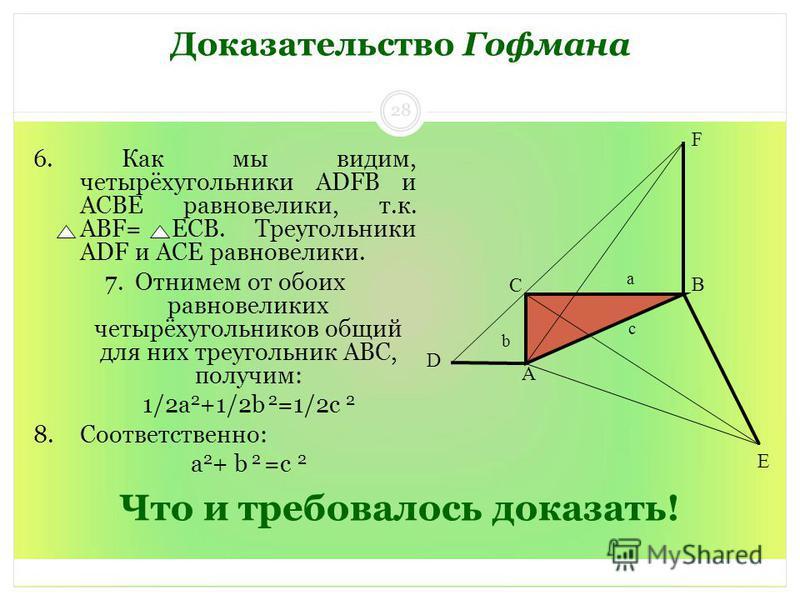 Что и требовалось доказать! 6. Как мы видим, четырёхугольники ADFB и ACBE равновелики, т.к. ABF= ЕCB. Треугольники ADF и ACE равновелики. 7. Отнимем от обоих равновеликих четырёхугольников общий для них треугольник ABC, получим: 1/2 а 2 +1/2b 2 =1/2