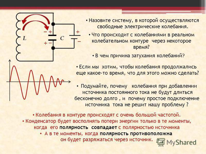 LC _ + Назовите систему, в которой осуществляются свободные электрические колебания. Что происходит с колебаниями в реальном колебательном контуре через некоторое время? В чем причина затухания колебаний ? Если мы хотим, чтобы колебания продолжались