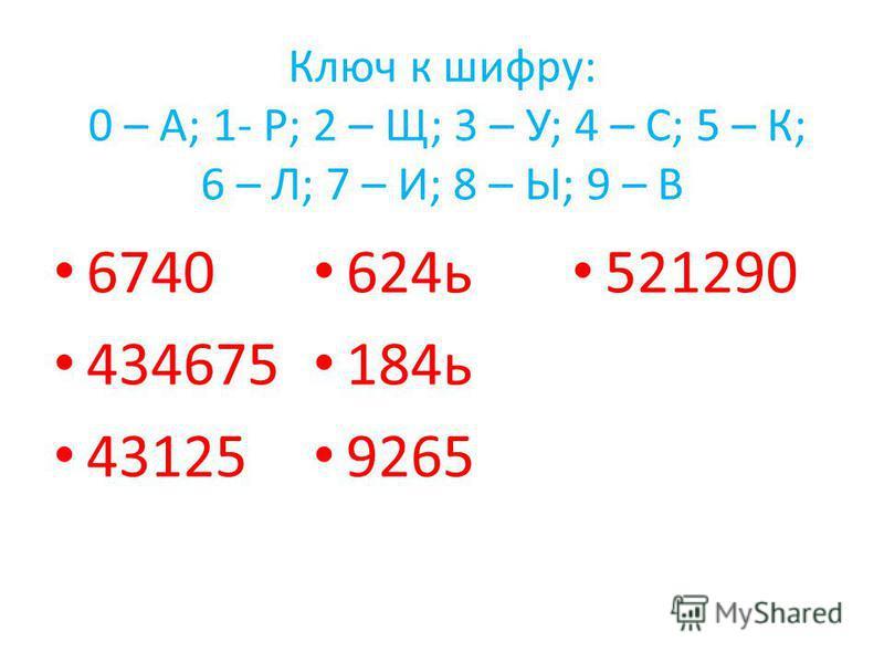 Ключ к шифру: 0 – А; 1- Р; 2 – Щ; 3 – У; 4 – С; 5 – К; 6 – Л; 7 – И; 8 – Ы; 9 – В 6740 434675 43125 624 ь 184 ь 9265 521290