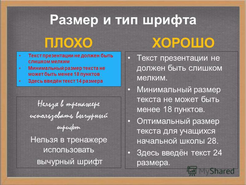 Размеры составляющего на слайде ПЛОХО ХОРОШО