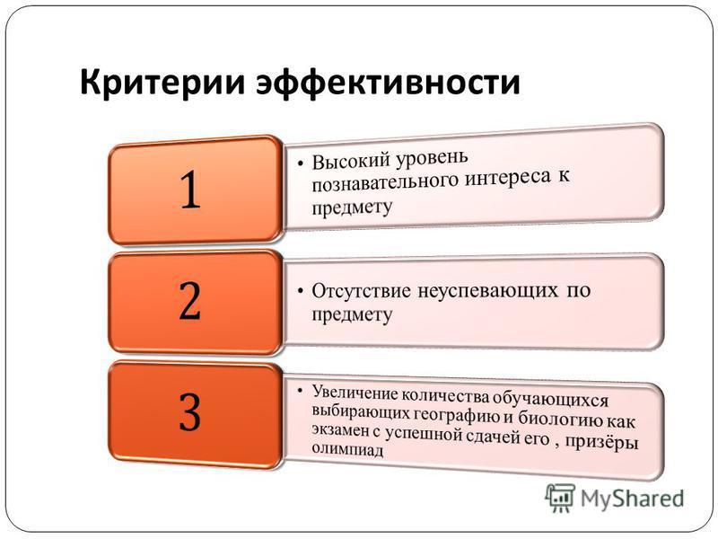 Критерии эффективности