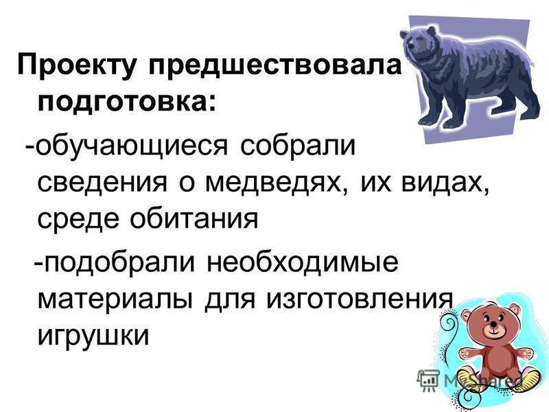 Проекту предшествовала подготовка: -обучающиеся собрали сведения о медведях, их видах, среде обитания -подобрали необходимые материалы для изготовления игрушки
