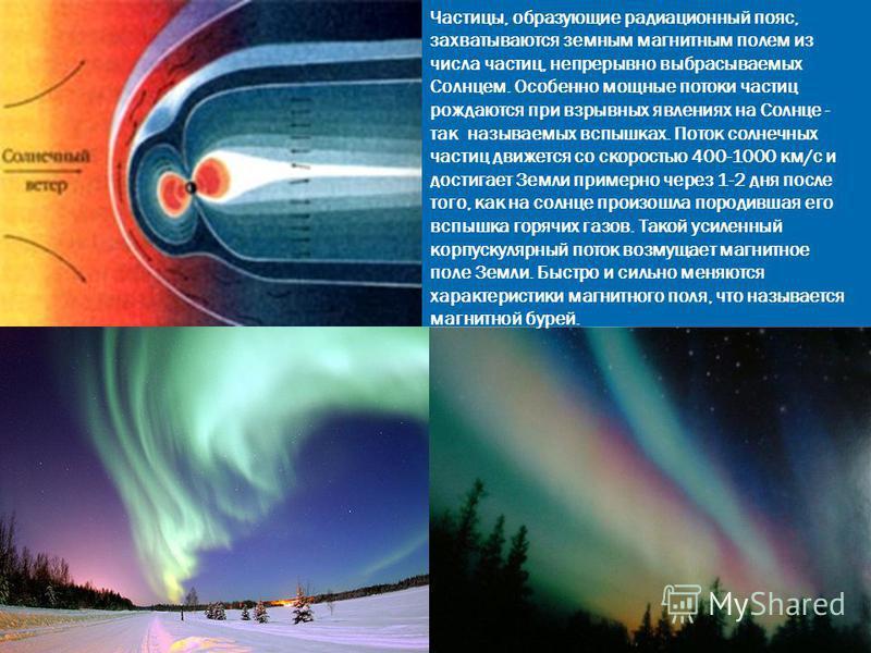 Частицы, образующие радиационный пояс, захватываются земным магнитным полем из числа частиц, непрерывно выбрасываемых Солнцем. Особенно мощные потоки частиц рождаются при взрывных явлениях на Солнце - так называемых вспышках. Поток солнечных частиц д