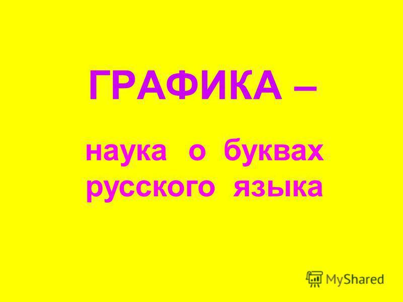 ГРАФИКА – наука о буквах русского языка