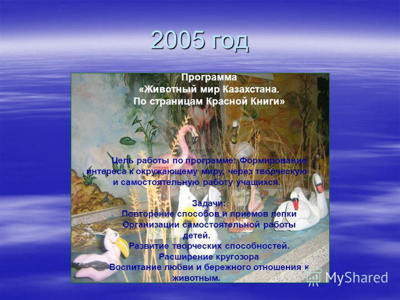 2005 год Программа «Животный мир Казахстана. По страницам Красной Книги» Цель работы по программе: Формирование интереса к окружающему миру, через творческую и самостоятельную работу учащихся. Задачи: Повторение способов и приемов лепки Организации с