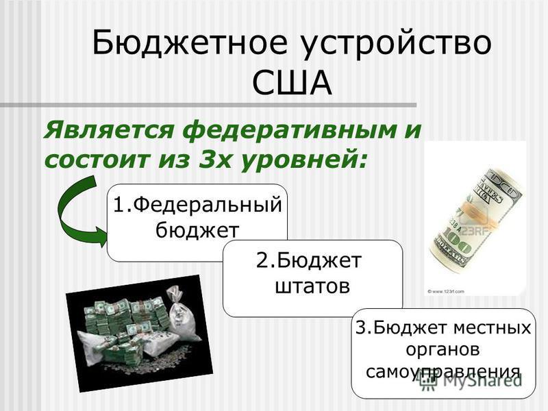 Является федеративным и состоит из 3 х уровней: Бюджетное устройство США 1. Федеральный бюджет 2. Бюджет штатов 3. Бюджет местных органов самоуправления