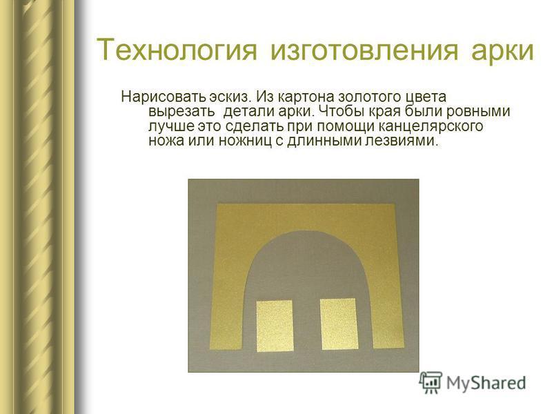 Технология изготовления арки Нарисовать эскиз. Из картона золотого цвета вырезать детали арки. Чтобы края были ровными лучше это сделать при помощи канцелярского ножа или ножниц с длинными лезвиями.