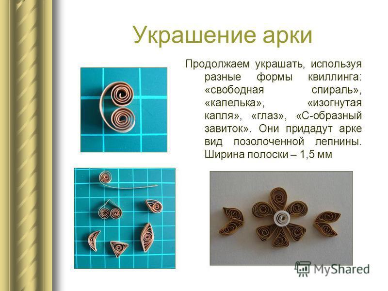 Украшение арки Продолжаем украшать, используя разные формы квиллинга: «свободная спираль», «капелька», «изогнутая капля», «глаз», «С-образный завиток». Они придадут арке вид позолоченной лепнины. Ширина полоски – 1,5 мм