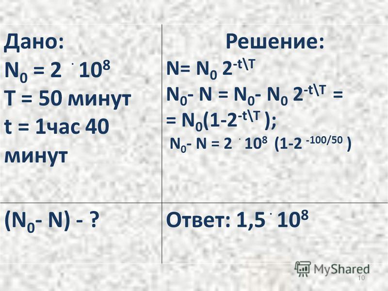 10 Дано: N 0 = 2 ۬ 10 8 T = 50 минут t = 1 час 40 минут Решение: N= N 0 2 -t\T N 0 - N = N 0 - N 0 2 -t\T = = N 0 (1-2 -t\T ); N 0 - N = 2 ۬ 10 8 (1-2 -100/50 ) (N 0 - N) - ?Ответ: 1,5 ۬ 10 8