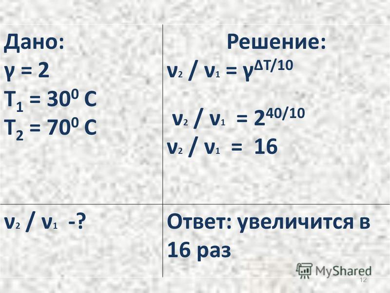 12 Дано: γ = 2 T 1 = 30 0 C T 2 = 70 0 C Решение: ν 2 / ν 1 = γ ΔT/10 ν 2 / ν 1 = 2 40/10 ν 2 / ν 1 = 16 ν 2 / ν 1 -?Ответ: увеличится в 16 раз