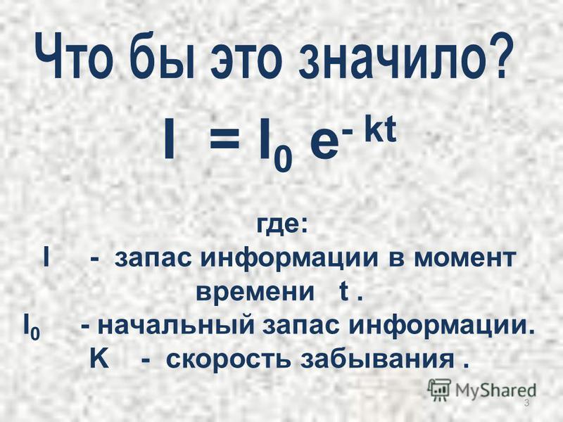 3 I = I 0 e - kt где: I - запас информации в момент времени t. I 0 - начальный запас информации. K - скорость забывания.