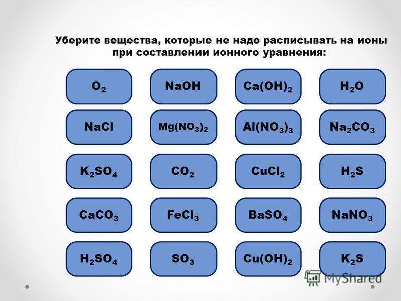 Ошибка Уберите вещества, которые не надо расписывать на ионы при составлении ионного уравнения: О2О2 NaOH Ошибка NaCl Ошибка K 2 SO 4 CO 2 Ошибка H 2 SO 4 CaCO 3 Ошибка Mg(NO 3 ) 2 Ошибка CuCl 2 BaSO 4 H2OH2O Н2SН2S Cu(OH) 2 SО3SО3 Ошибка FeCl 3 Ошиб
