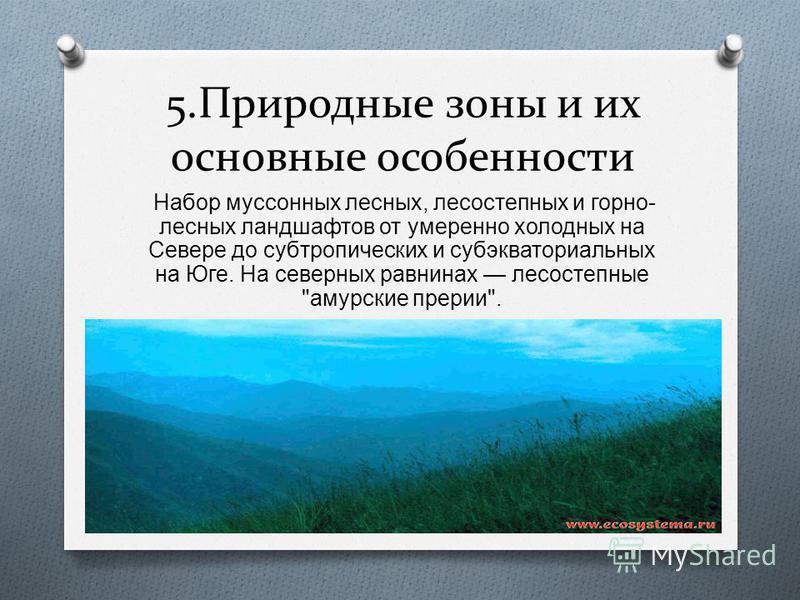 5. Природные зоны и их основные особенности Набор муссонных лесных, лесостепных и горно - лесных ландшафтов от умеренно холодных на Севере до субтропических и субэкваториальных на Юге. На северных равнинах лесостепные  амурские прерии .