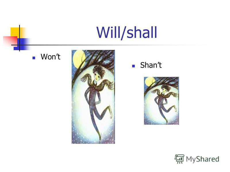 Will/shall Wont Shant