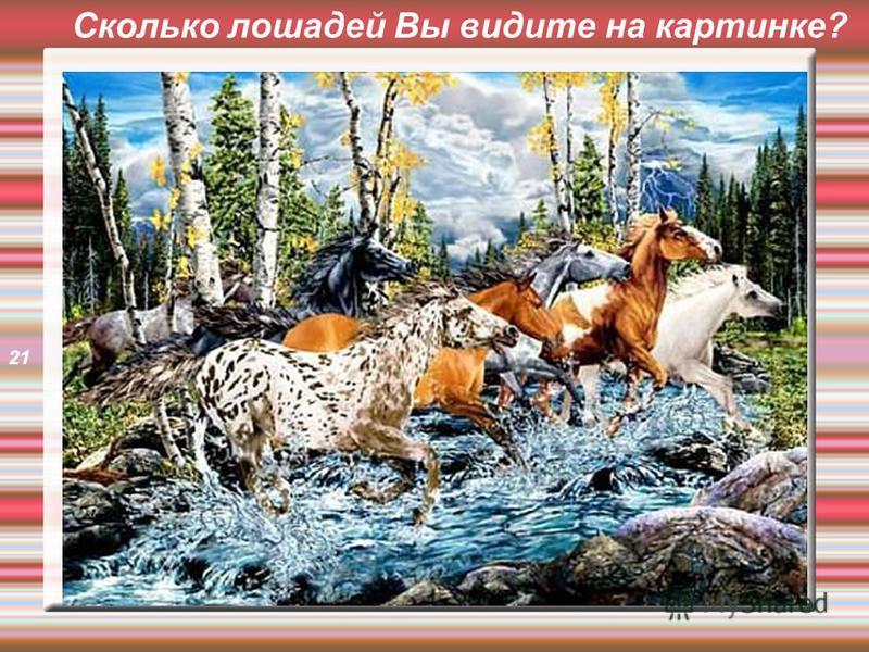 Сколько лошадей Вы видите на картинке? 21