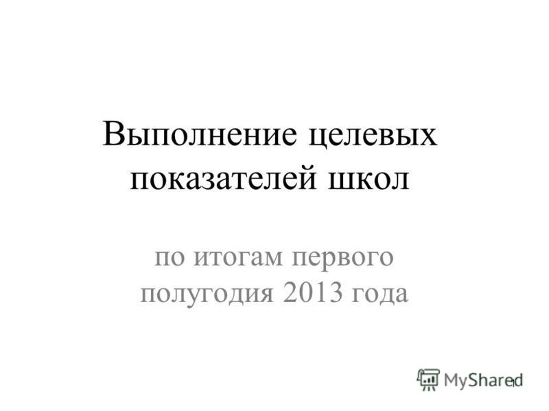 Выполнение целевых показателей школ по итогам первого полугодия 2013 года 1