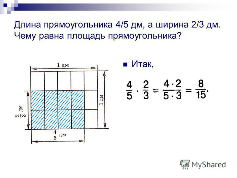Длина прямоугольника 4/5 дм, а ширина 2/3 дм. Чему равна площадь прямоугольника? Итак,