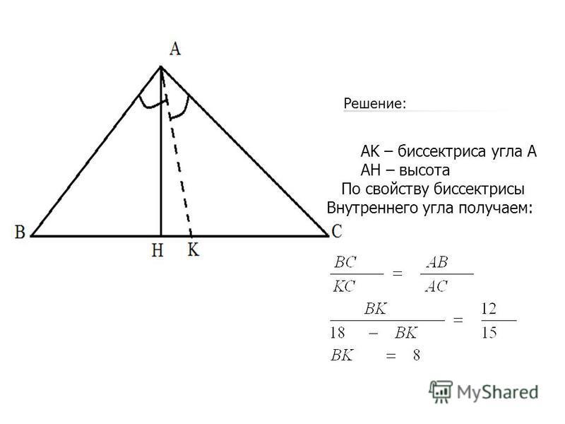 AK – биссектриса угла А АH – высота По свойству биссектрисы Внутреннего угла получаем: Решение: